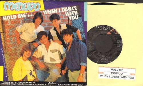 Menudo - Hold Me/When I Dance With You (with juke box label and RARE picture sleeve featuring a pre-teen Ricky Martin, NICE condition!) - M10/NM9 - 45 rpm Records