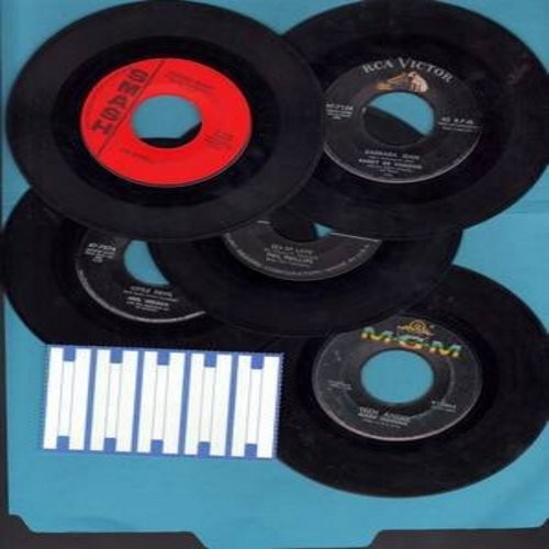 Philips, Phil, Mark Dinning, Barry De Vorzon,Neil Sedaka, Joe Dowell - Dreamy Oldies 5-Pack: 5 first issue 45rpm records in very good or better condition, shipped in white paper sleeves with strip of 5 blank juke box labels. Hits include Sea Of Love, Barb