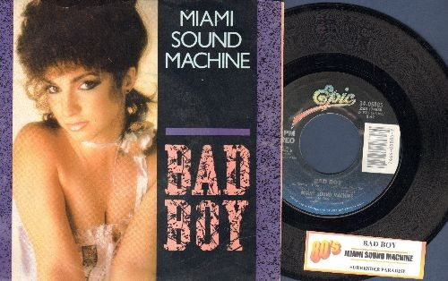 Miami Sound Machine - Bad Boy/Surrender Paradise (with juke box label and picture sleeve) - NM9/EX8 - 45 rpm Records