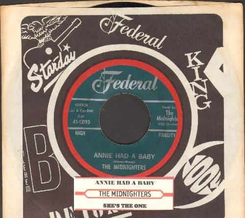 Midnighters - Annie Had A Baby/She's The One (RARE 1954 first pressing with juke box label and company sleeve) - EX8/ - 45 rpm Records