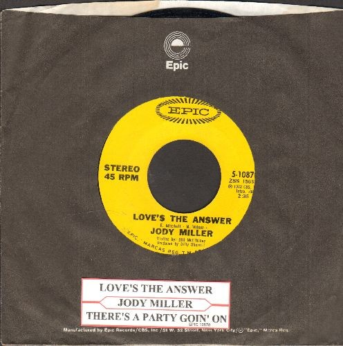 Miller, Jody - Love's The Answer/There's A Party Goin' On (with juke box label and  Epic company sleeve) - EX8/ - 45 rpm Records
