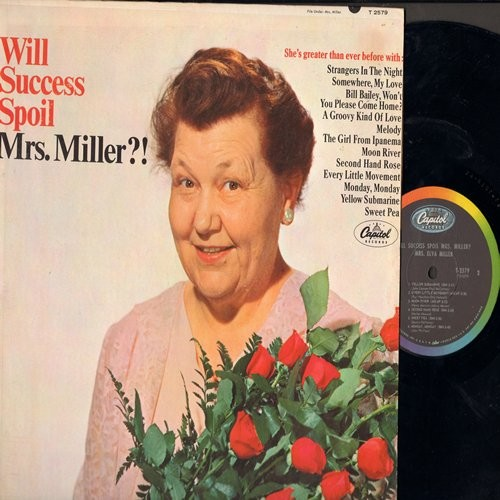 Miller, Mrs. - Will Success Spoil Mrs. Miller?: She's greater than ever before. America's most famous TONE-DEAF Grandma sings more 60s hit tunes (her way!) (Vinyl MONO LP record) - M10/EX8 - LP Records