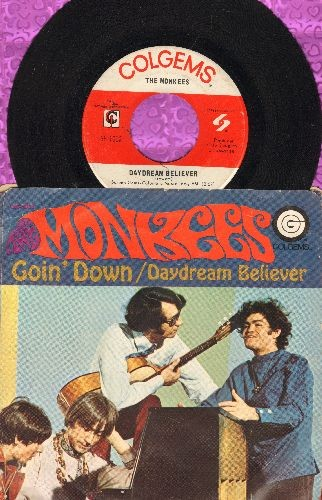 Monkees - Daydream Believer/Goin' Down (with picture sleeve) - EX8/VG7 - 45 rpm Records