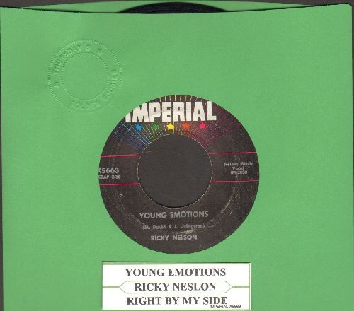 Nelson, Rick - Young Emotions/Right By My Side (with juke box label) - EX8/ - 45 rpm Records