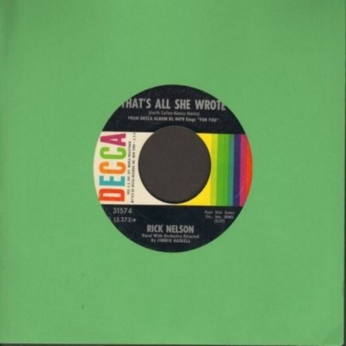 Nelson, Rick - That's All She Wrote/For You - VG7/ - 45 rpm Records
