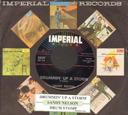 Nelson, Sandy - Drummin' Up A Storm/Drum Stomp (with juke box label and Imperial company sleeve) - EX8/ - 45 rpm Records