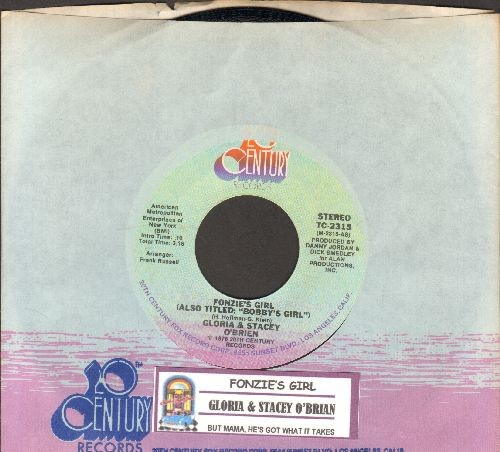 O'Brien, Gloria & Stacey - Fonzie's Girl (Also Titled: Bobby's Girl)/But Mama, He's Got What It Takes (with juke box label and company sleeve) - NM9/ - 45 rpm Records