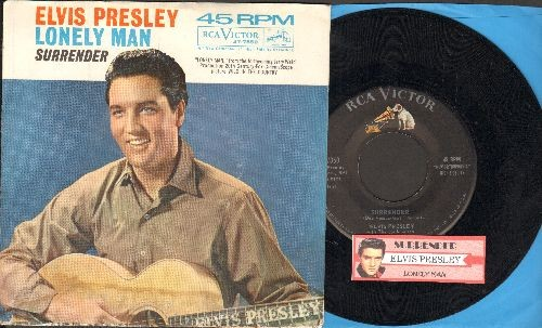 Presley, Elvis - Surrender/Lonely Man (with picture sleeve and juke box label) - NM9/VG7 - 45 rpm Records