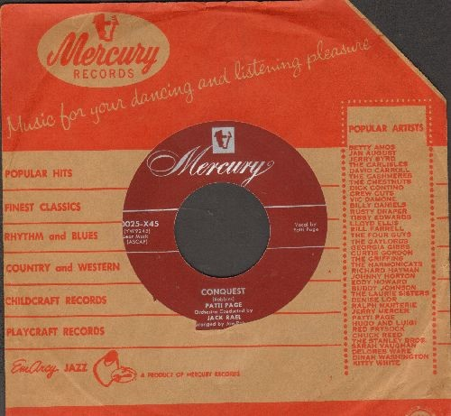 Page, Patti - Conquest/Why Don't You Believe Me (with Mercury company sleeve) - NM9/ - 45 rpm Records