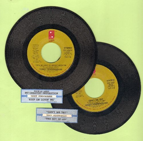 Pendergrass, Teddy - 2 first issue 45s with juke box labels for the price of 1! - You're The Latest, My Greatest Inspiration and Can't We Try - shipped in plain white paper sleeves. GREAT for a juke box! - EX8/ - 45 rpm Records