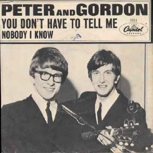 Peter & Gordon - Nobody I Know/You Don't Have To Tell Me (with picture sleeve) - NM9/VG7 - 45 rpm Records