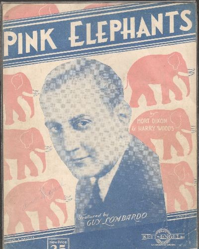 Lombardo, Guy - Pink Elephants - RARE Vintage SHEET MUSIC for the Guy Lombardo Classic - VG7/ - Sheet Music
