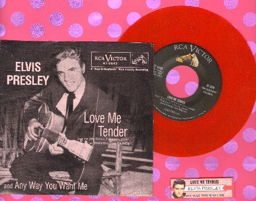 Presley, Elvis - Love Me Tender/Anyway You Want Me (RED VINYL re-issue with with picture sleeve and juke box label) - NM9/NM9 - 45 rpm Records