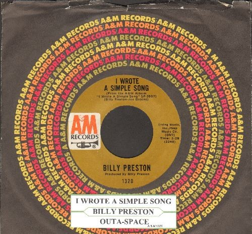 Preston, Billy - Outa-Space/I Wrote A Simple Song (with A&M company sleeve and juke box label) - NM9/ - 45 rpm Records