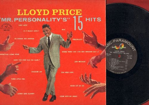 Price, Lloyd - Mr. Personality's 15 Hits: Personality, Lady Luck, I'm Gonna Get Married, Stagger Lee, Lawdy Miss Clawdy, Just Because (Vinyl MONO LP record, low condition of vinyl and cover!) - G5/G5 - LP Records