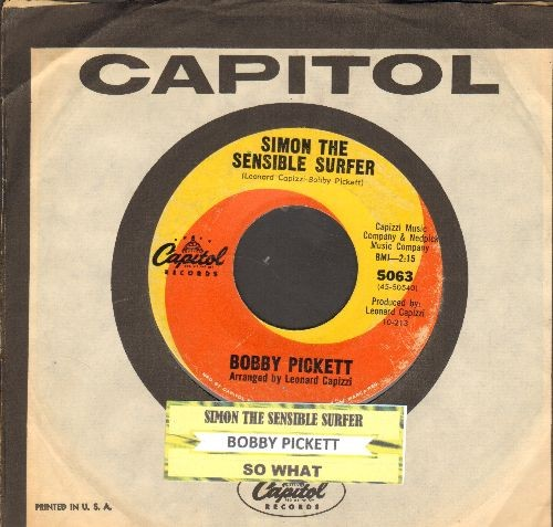 Pickett, Bobby - Simon The Sensible Surfer/So What (RARE Novelty 2-sider with juke box label and Capitol company sleeve) - EX8/ - 45 rpm Records