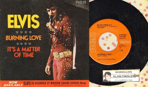 Presley, Elvis - Burning Love/It's A Matter Of Time (withjuke box label and picture sleeve) - EX8/EX8 - 45 rpm Records