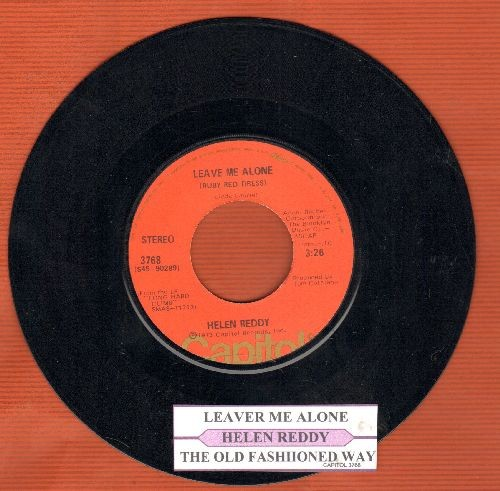 Reddy, Helen - Leave Me Alone/The Old Fashioned Way (with juke box label) - EX8/ - 45 rpm Records