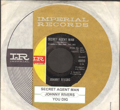 Rivers, Johnny - Secret Agent Man/You Dig (with Imperial company sleeve and juke box label) - EX8/ - 45 rpm Records