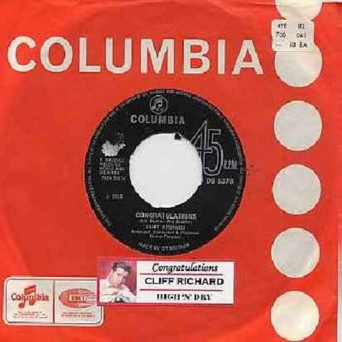 Richard, Cliff - Congratulations/High 'N' Dry (British Pressing with Columbia company sleeve and juke box label) - NM9/ - 45 rpm Records