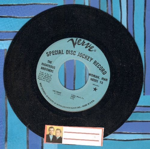 Righteous Brothers - Woman, Man Needs Ya/And The Party Goes On (RARE DJ advance pressing) - NM9/ - 45 rpm Records