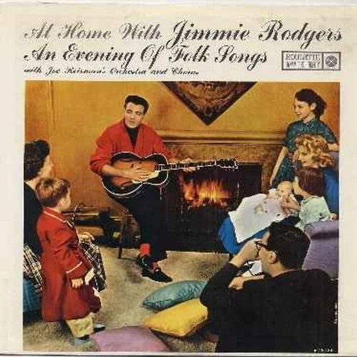 Rodgers, Jimmie - At Home With Jimmie Rodgers - An Evening Of Folk Songs: Two Brothers, Come Along Julie, The Streets Of Laredo, Dublin City, I Know An Old Lady (Vinyl MONO LP record, NICE condition!) - NM9/NM9 - LP Records