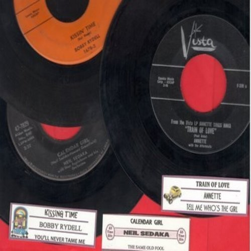 Annette, Neil Sedaka, Bobby Rydell - Juke Box Trio #1214: First issues in very good or better condition, includes hits Train Of Love, Calendar Girl, and Kissin' Time. With customized juke box labels, great set for a Juke Box! - VG7/ - 45 rpm Records