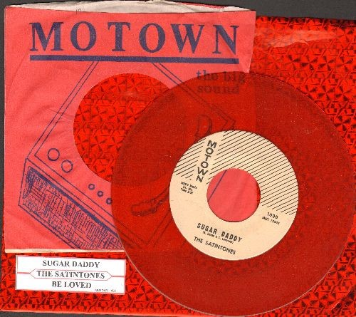 Satintones - Sugar Daddy/My Beloved (Red Vinyl re-issue of EXTREMELY RARE FIRST EVER Motown single with juke box label and Motown company sleeve) - NM9/ - 45 rpm Records