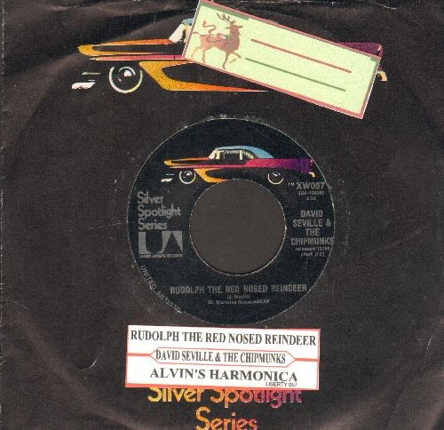 Chipmunks - Rudolph The Red Nosed Reindeer/Alvin's Harmonica (double-hit re-issue with juke box label and company sleeve) - NM9/ - 45 rpm Records