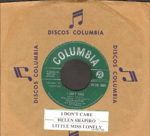 Shapiro, Helen - I Don't Care/Little Miss Lonely (British Pressing with juke box label and company sleeve) - VG7/ - 45 rpm Records