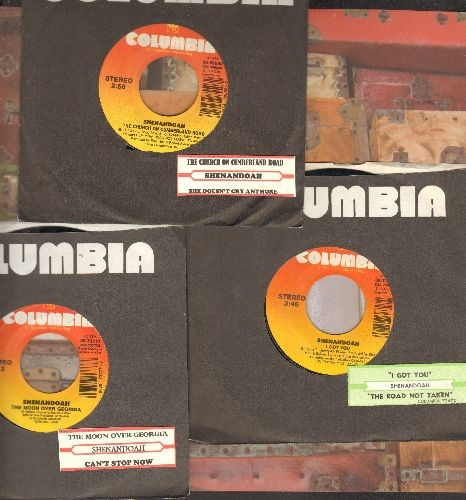 Shenandoah - 3-Pack of first issue 45s, includes hits The Church On Cumberland Road, I Got You, The Moon Over Georgia, with juke box labels and Columbia company sleeves. GREAT for a juke box! - EX8/ - 45 rpm Records