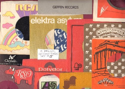 Company Sleeves - 12 Vintage Company Sleeves - Set #012-5 (exactly as pictured!) - Dress up your 7 inch vinyl records in original company sleeves of the 1960s & 70s. Good to excellent condition. - /EX8 - Supplies
