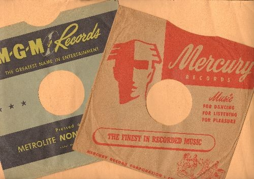 Company Sleeves - 2 Vintage 10 inch Company Sleeves (exactly as pictured). Includes MGM and Mercury. Enhamces the appearance and collectors' value of your 78 rpm records. - /EX8 - Supplies
