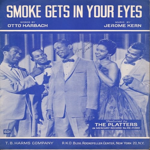 Platters - Smoke Gets In Your Eyes - SHEET MUSIC for the popular standard made popular in the 1950s by The Platters, NICE cover art!  (This is SHEET MUSIC, not any other kind of media!) - EX8/ - Sheet Music