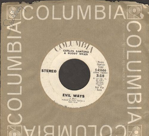 Santana - Evil Ways/Them Changes (DJ advance pressing with Columbia company sleeve) - VG7/ - 45 rpm Records