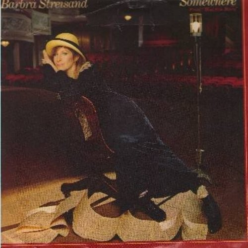 Streisand, Barbra - Somewhere (from -West Side Story-)/Not While I'm Around (from -Sweeney Todd-) (with picture sleeve) - EX8/EX8 - 45 rpm Records