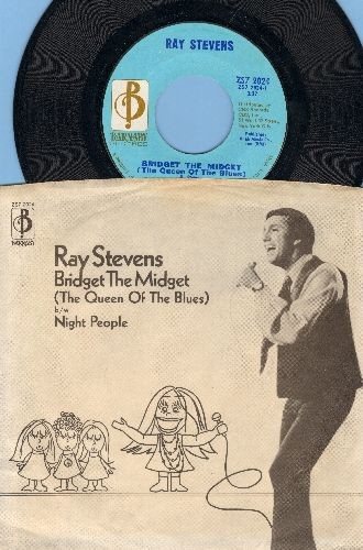 Stevens, Ray - Bridget The Midget (The Queen Of The Blues)/Night People (with RARE picture sleeve, soc) - EX8/EX8 - 45 rpm Records