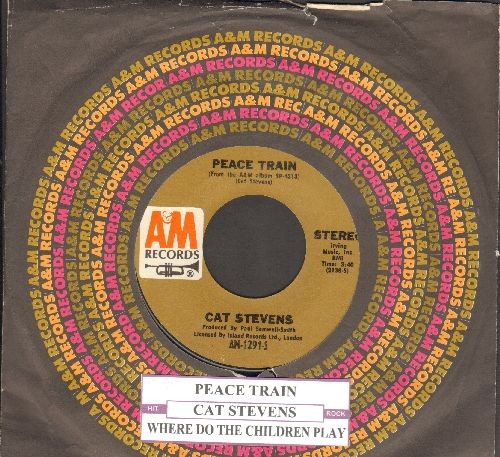Stevens, Cat - Peace Train/Where Do The Children Play (with juke box label and A&M company sleeve) - NM9/ - 45 rpm Records