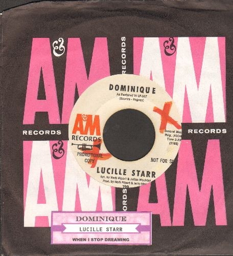 Starr, Lucille - Dominique/When I Stop Dreaming (DJ advance pressing with vintage A&M company sleeve and juke box label) (wol) - EX8/ - 45 rpm Records