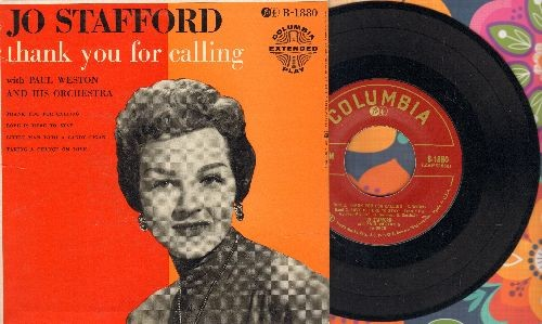 Stafford, Jo - Thank You For Calling/Love Is Here To Stay/Little Man With A Candy Cigar/Taking A Chance On Love (vinyl EP record with picture cover) - NM9/NM9 - 45 rpm Records