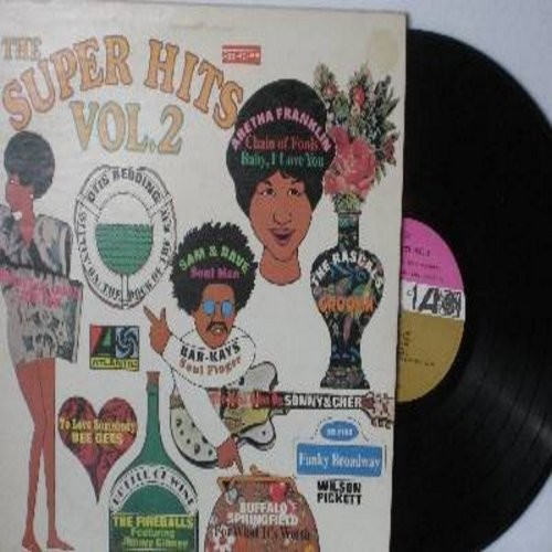 Pickett, Wilson, Rascals, Aretha Franklin, Sam & Dave, others - Super Hits Vol. 2: Funky Broadway, Chain Of Fools, The Beat Goes On, Soul Man, The Dock Of The Bay, To Love Somebody (Vinyl STEREO LP record) - NM9/EX8 - LP Records