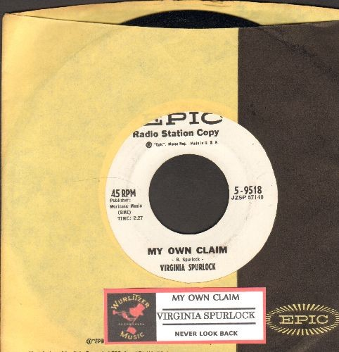 Spurlock, Virginia - Never Look Back/My Own Claim (DJ advance pressing with vintage Epic company sleeve with juke box label) - EX8/ - 45 rpm Records