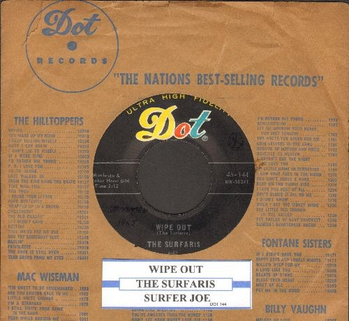 Surfaris - Wipe Out/Surfer Joe (with juke box label and  Dot company sleeve) - VG7/ - 45 rpm Records