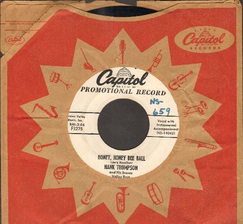 Thompson, Hank - Honey, Honey Bee Bell/Don't Take It Out On Me (DJ advance pressing with Capitol company sleeve) - EX8/ - 45 rpm Records