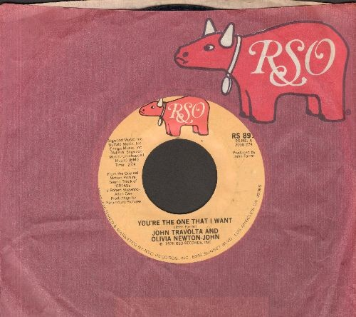 Travolta, John & Olivia-Newton John - You're The One That I Want/Alone At A Drive-In Movie (with RSO company sleeve) - EX8/ - 45 rpm Records