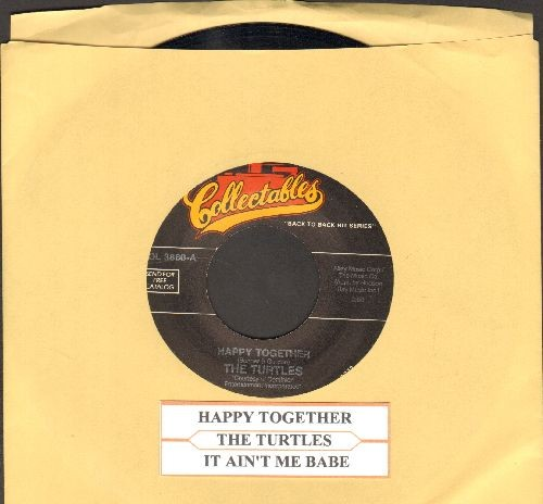 Turtles - Happy Together/It Ain't Me Babe (double-hit re-issue with juke box label) - NM9/ - 45 rpm Records