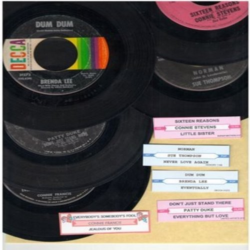 Duke, Patty, Connie Francis, Sue Thompson, Connie Stevens, Brenda Lee - Vintage Girl-Sound 5-Pack: First issues in very good or better condition with juke box labels! Hits include Don't Just Stand There, Everybody's Somebody's Fool, Norman, 16 Reasons and
