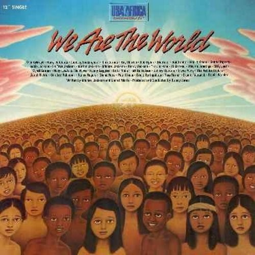 USA For Africa featuring Michael Jackson - We Are The World - 12 inch 33rpm vinyl Maxi Single featuring undedited 7+ minutes version.  - NM9/EX8 - Maxi Singles