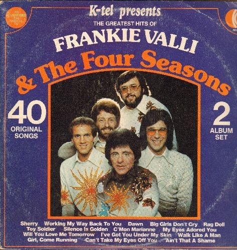 Valli, Frankie & The Four Seasons - The Greatest Hits: Big Girls Don't Cry, Can't Take My Eyes Off You, Sherry, Alone, Walk Like A Man (1977 issue of vintage recordings, 2 vinyl LP records, gate-fold cover) - NM9/VG7 - LP Records