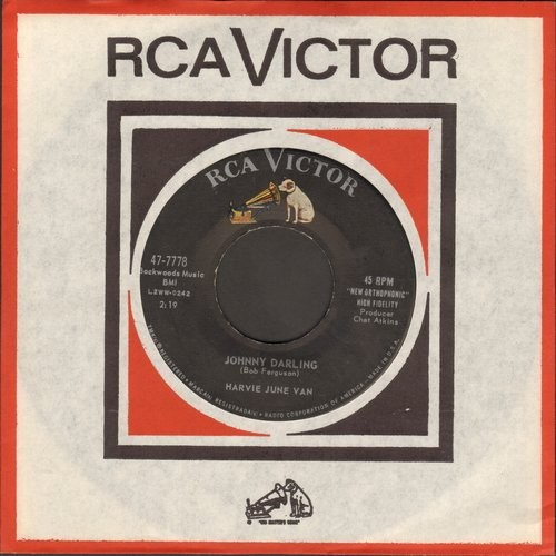 Van, June Harvey - Johnny Darling/Little Wooden Man (with vintage RCA company sleeve) - EX8/ - 45 rpm Records